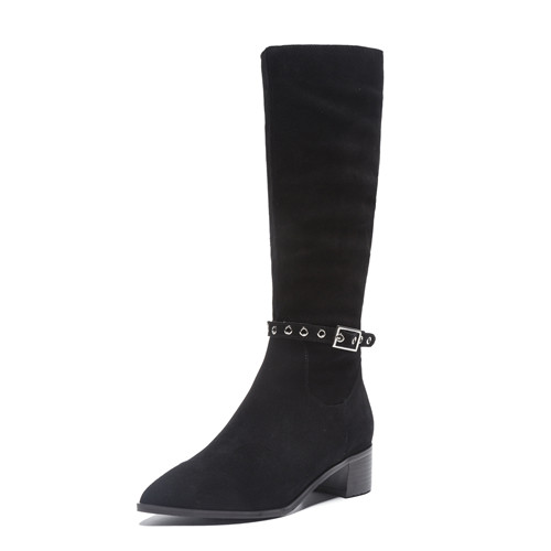 Женские зимние сапоги до колена на плоской подошве; облегающие рыцарские сапоги с пряжкой на лодыжке; женские высокие сапоги высокого качества; теплые плюшевые сапоги; обувь - Цвет: black 4cm heel