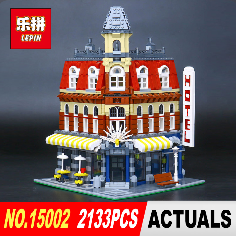 New LEPIN 15002 2133Pcs Cafe Corner Model Building Kits Blocks Kid DIY Educational Toy Children day Gift brinquedos 10182 new lepin 16008 cinderella princess castle city model building block kid educational toys for children gift compatible 71040