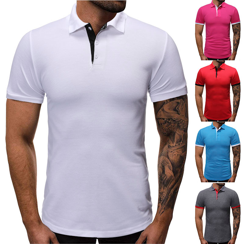 Fashion Personality Men's Summer Casual Slim Pockets Stand Top Blouse   Polo   Shirt Men's Short Sleeve Slim Fit formal solid