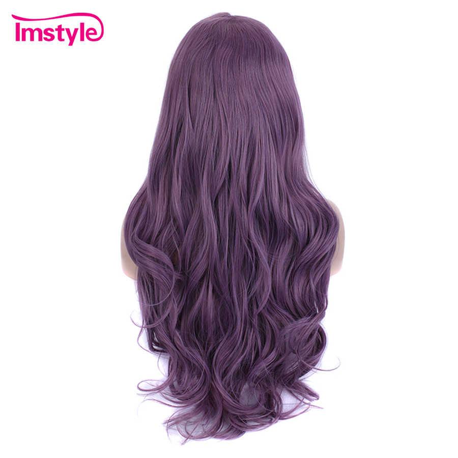 Imstyle синтетический парик на фронте шнурка фиолетовые парики для женщин длинные волнистые натуральные волосы WigHeat стойкие волокна косплей парики вечерние 28 дюймов