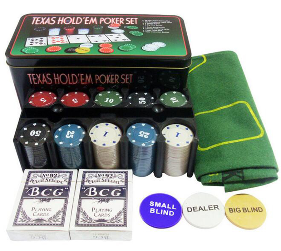 Poker Chip Set 21 Point Set Iron Box With 200 Chips Tablecloth Code And Poker Chess Entertainment Casual Game Casino Essentials