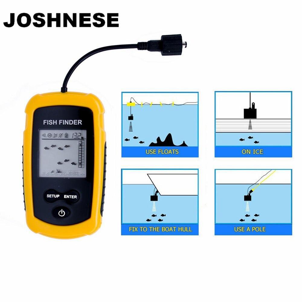 JOSHNESE TN/ANTI-UV LCD Display Fish Finder Depth Sonar Sounder Alarm Waterproof Fishfinder 100M 328 Feet Sonar Fish Sonar free shipping alarm sonar lcd fish depth finder