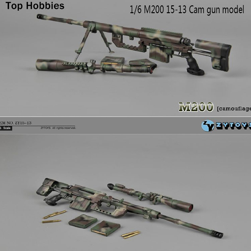 ZYTOYS 1:6 M200 Sniper Rifle ZY15-13 Camouflage Gun Model Weaponry accessories 1/6 12 Inch Soldier Action FIGURE / In Stock 1 6 scale metal color cheytac intervention m 200 sniper rifle weapon model toys zy15 11 for 12 action figure accessories