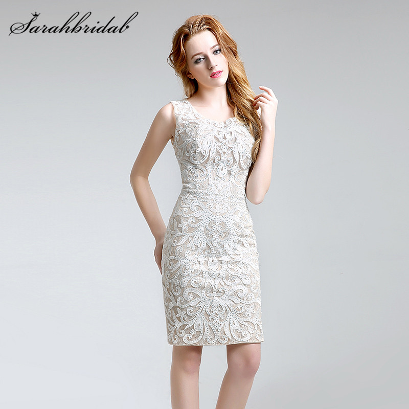 Sexy Elegant Lace Beaded Mermaid Evening Dresses Sleeveless O-Neck Short Women Prom Gowns Backless Embroidery In Stock LX199