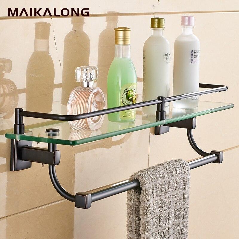 Bathroom Glass Shelf Wall Mount with Towel Bar and Rail, black oil ...