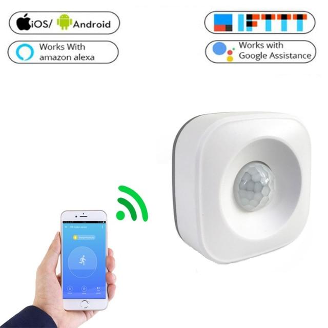 Sensor de movimiento WIFI inalámbrico de techo PIR alarma de cuerpo humano Detector de seguridad infrarrojo APP inteligente alerta Push Alexa Google Home IFTTT