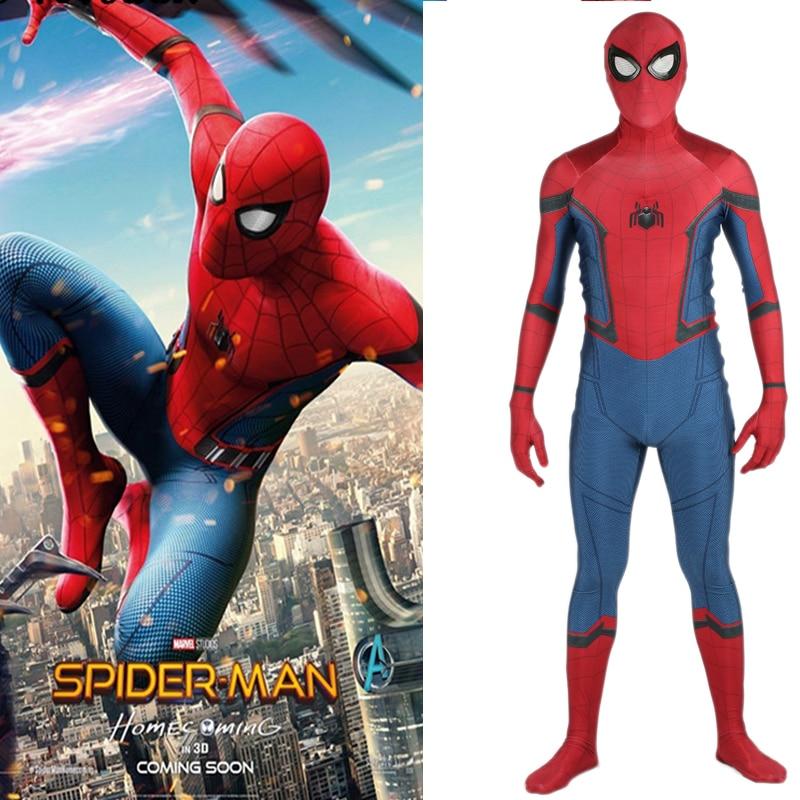 Spider-Man:Homecoming Cosplay Tights Spider-Man Costume Spandex Jumpsuit Lycra Full Body Bodysuit Halloween