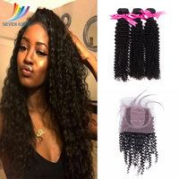 Sevengirls Malaysian Natural Color Kinky Curly 100% Human Hair 3Bundles With 4*4 Lace With 2*4 Silk Base Closure Raw Hair