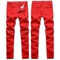 ВЫСОКОЕ Качество Нового 2016 Мода Ripped Отверстия С Молния Брюки Мужчины красный Белый Черный Мужчины Брюки Slim Fit Ночной Клуб Брюки Марка Одежды
