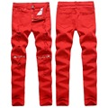 TOP Quality New 2016 Fashion Ripped Hole With Zipper Pants Men Red White Black Men Pants Slim Fit Nightclub Pants Brand Clothing