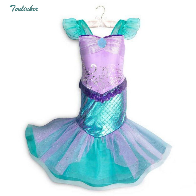 New Girls Mermaid Dress Children Christmas Costume Little Ruffle Flyying Sleeve for girls Carnival Tutu Dresses