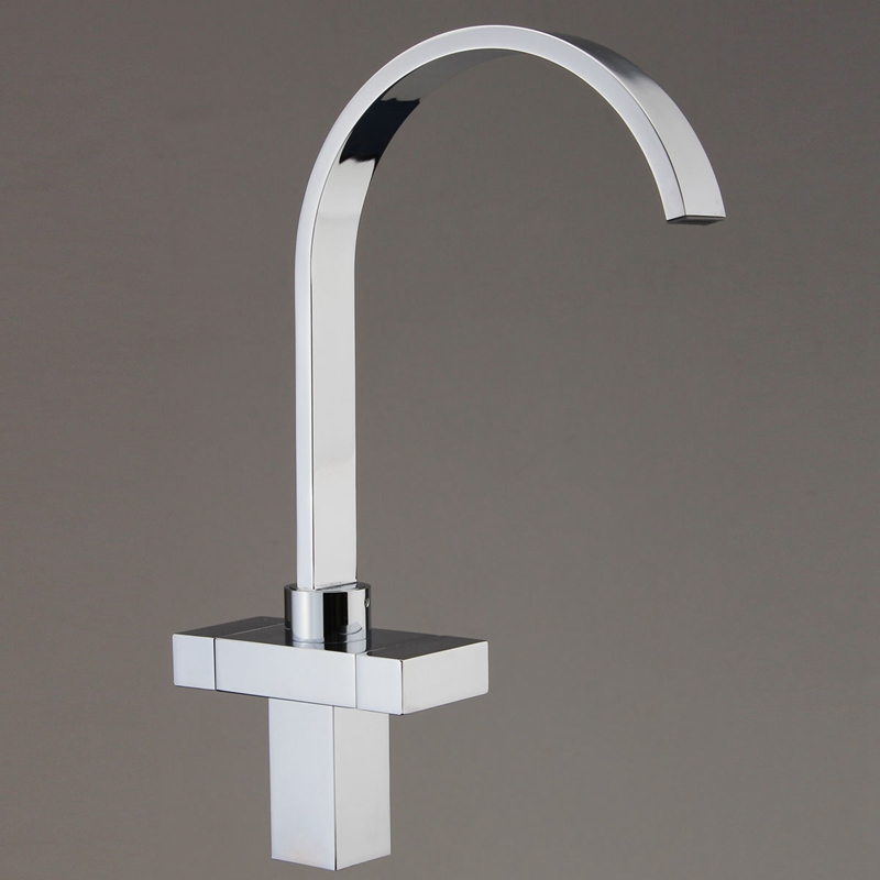 Xueqin Twin Lever Flexible Chrome Brass Square Twin Lever Kitchen Sink Single Lever Faucet Mix Tap
