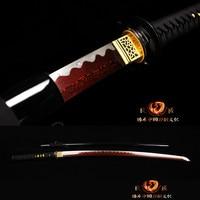Real Sharp Japanese Samurai Katana Sword Folded Steel Full Tang Bloody Red Blade