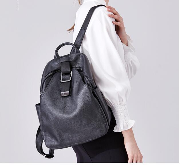 ของแท้หนังสีดำหนังวัวขนาดใหญ่ความจุกระเป๋าเป้สะพายหลังโรงเรียนกระเป๋า-ใน กระเป๋าเป้ จาก สัมภาระและกระเป๋า บน   1