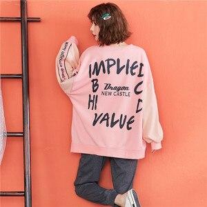 Image 2 - JRMISSLI Bahar Yeni Kadın Pijama Setleri Mektup Pembe Saf Pamuklu Pijama Ev Giysileri Iki parçalı Takım Elbise Casual Kazak Pijama