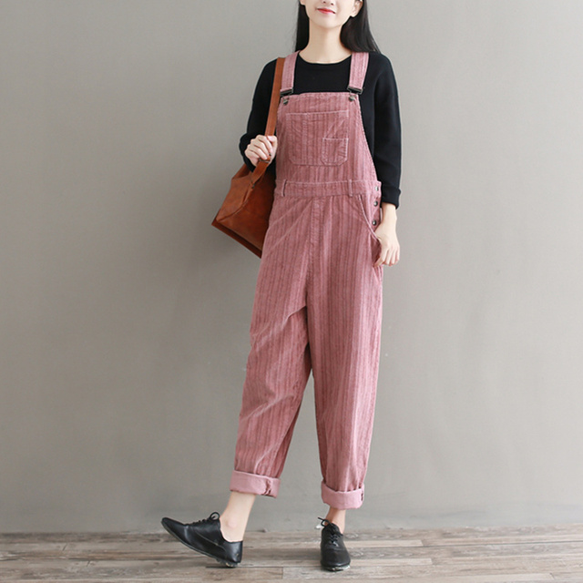a5ade8451a24 Vintage Womens Corduroy Jumpsuit Japanese Cute Solid Pink White Femme  Overalls Pants Plus Size Mori Girl s Suspenders Trousers