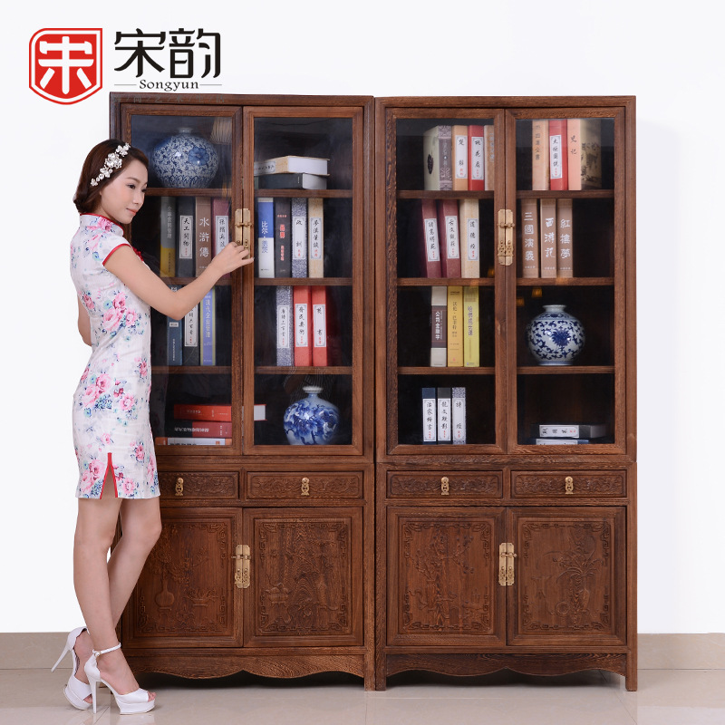Mahogany Furniture Wooden Chinese Storage Bookcase Bookshelf With Door Glass Door Carved Wood Cabinet Wood Spoon