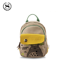 Hot Anime My Neighbor Totoro Canvas Cartoon Printing Backpacks Fashion Natsume Yuujinchou Small Girls Shoulder Schoolbags 465t
