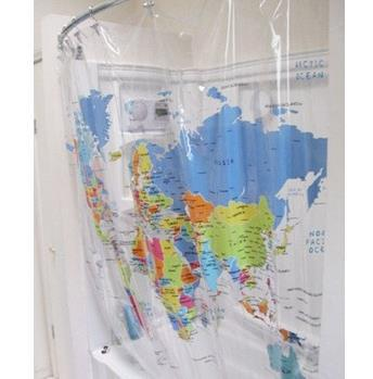 Free shipping 2014 New PVC Transparent Print World Map Shower
