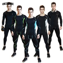 Men Compression Sportswear Elastic Breathable Tracksuit  Black Blue Gray Workout Clothes Jogger Gym Training Fitness Running Set