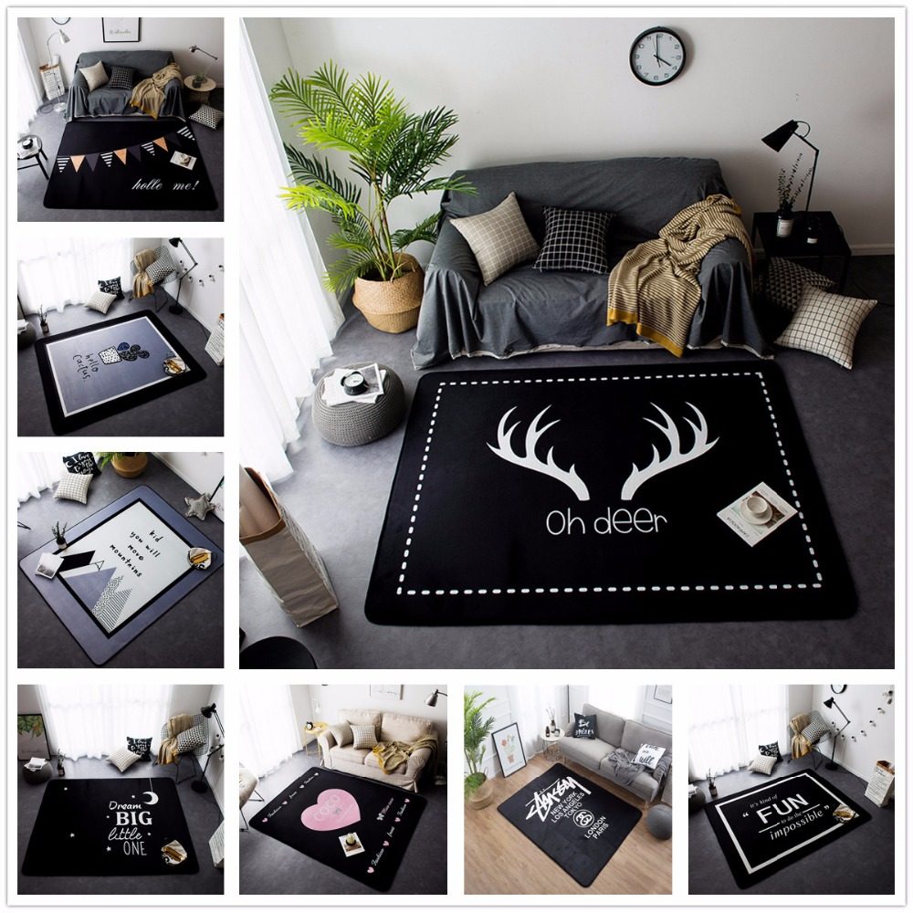 New Nordic Style Decor Flannel Velvet Deer Pattern Big Living Room Floor Kid Crawling Play Mats Rugs Table Are Rugs Carpets