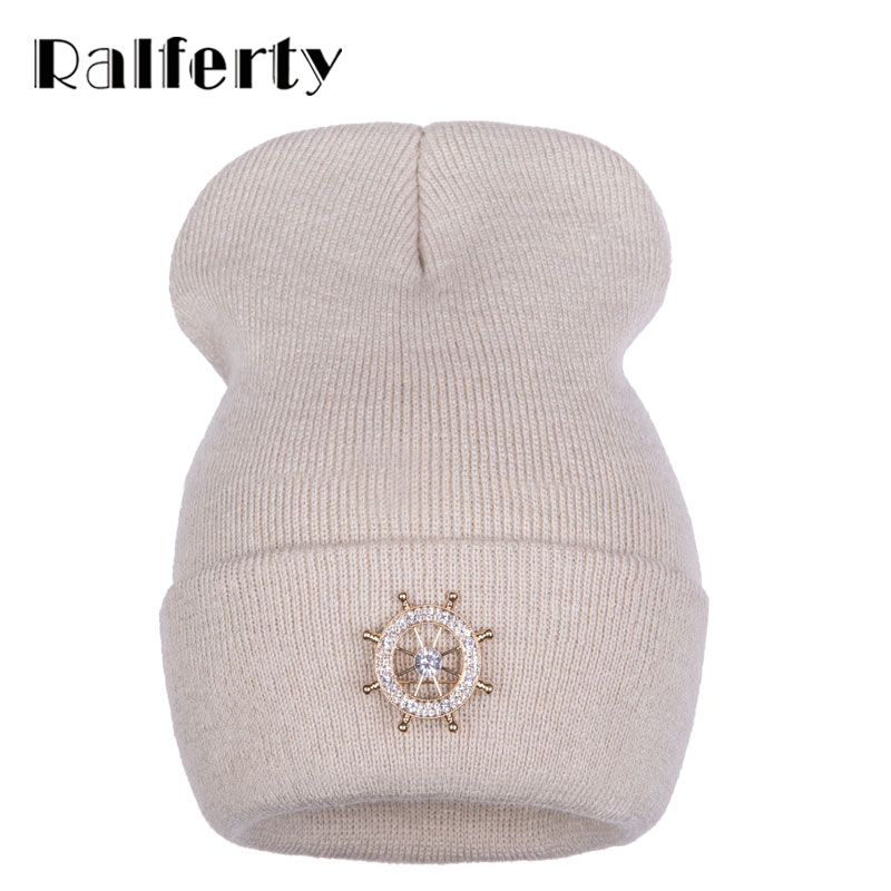 Ralferty Rudder Decorated Women's Winter Hat Brand Female   Skullies     Beanies   Knitted Hats For Woman Caps Black White gorras
