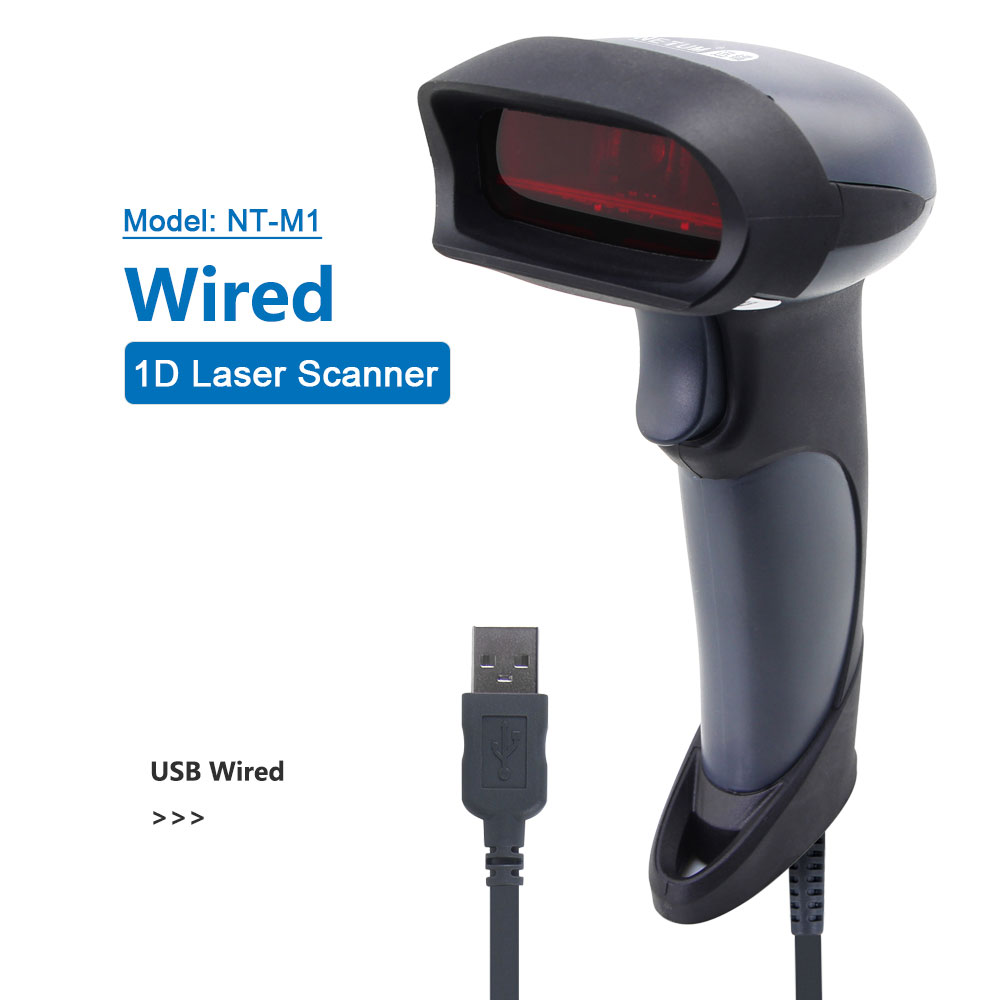 NETUM NT-M2 Wireless 1D Barcode Scanner AND NT-M5 Handheld Wired 2D QR Code Reader PDF417 Data Matrix for Windows Mac POS System image