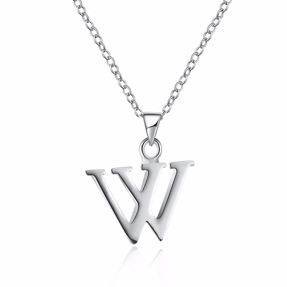 Hot new 925 sterling silver jewelry W alphabet pendant necklace Christmas gift is not allergic accessories
