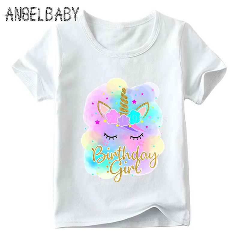 Happy Birthday Girl Unicorn Face Cartoon Print T-shirt Children Summer Short Sleeve Tops Kids Funny Present Baby T Shirt,ooo5249