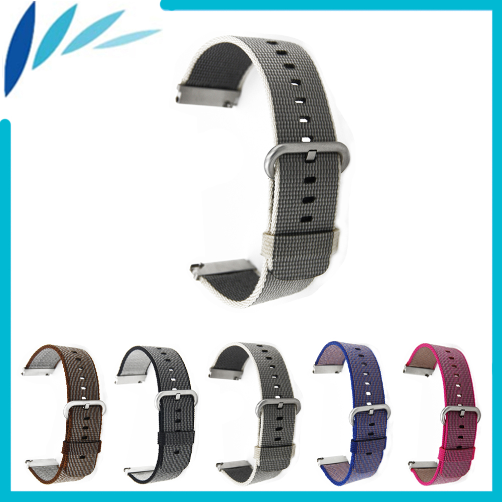 Nylon Watch Band 22mm Universal Watchband Stainless Steel Pin Clasp Strap Wrist Loop Belt Bracelet Black Brown Grey + Spring Bar stylish 8 led blue light digit stainless steel bracelet wrist watch black 1 cr2016