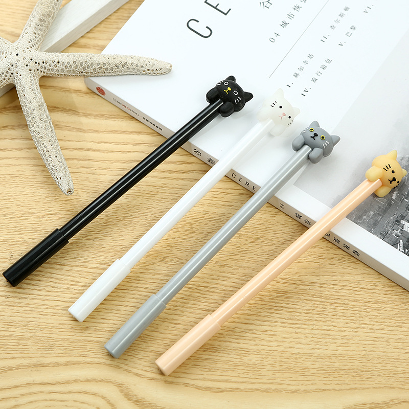 100 PCs Han Version Of The New Students Learning Stationery Cute Cartoon Design Cat Head Neutral Office Signature Pen