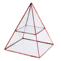 Pyramid Glass Geometric Terrarium Box Table Décor Succulent Plant Planter Garden Supplies