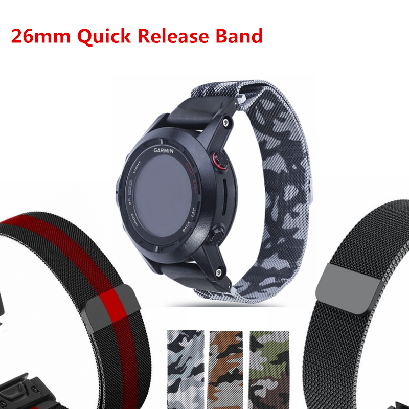 Milanese Loop Watch Band For Fenix 5X/5X Plus/3HR Quick Release Replacement Strap for Garmin Tactix Bravo/Desent MK1/D2 charlie цена