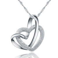 Touching The Double Heart Necklace Heart Shaped Pendant 100 925 Sterling Silver Pendant Necklace Nature Ross