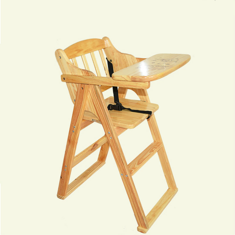 Multifunctional Solid Wood Baby Dining Chair Baby High Chair Portable Folding Baby Feeding Chair Rotary Plate Baby Chair 0-5T BB купить недорого в Москве