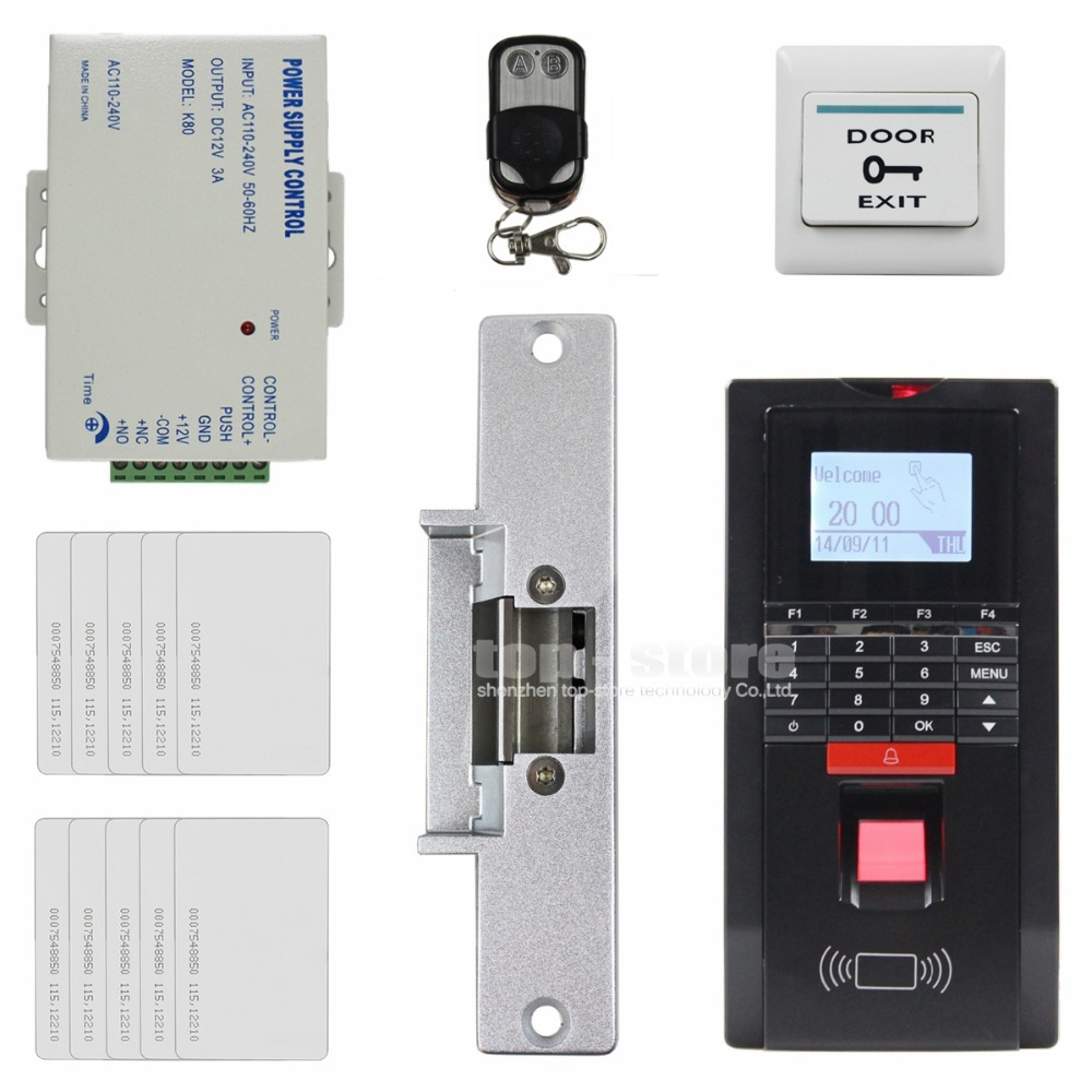 DIYSECUR Remote Control Fingerprint Id Card Reader Password Keypad Door Access Control System + Strike Lock For Office / House diysecur tcp ip usb fingerprint id card reader password keypad door access control system power supply 280kg magnetic lock