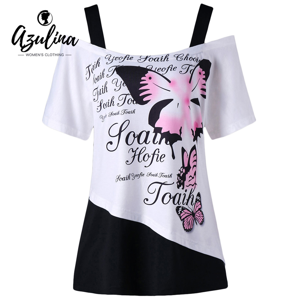 AZULINA Plus Size Ladies Tops Butterfly Letter Cold Shoulder T-Shirt Summer Women Tops 2018 Square Neck Short Sleeves T shirts