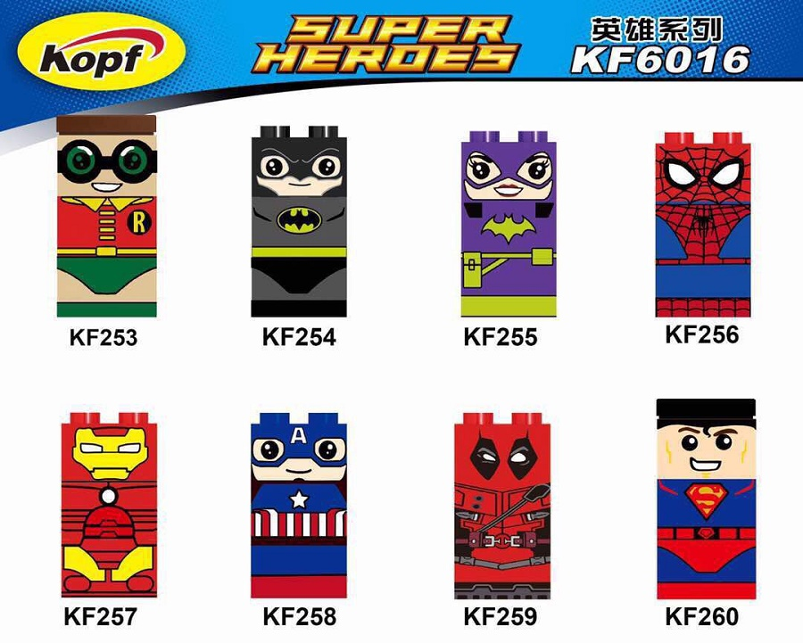 Single Sale Super Heroes Robin Batman Spiderman Iron Man Captain America Deadpool Building Blocks Children Gift Toys KF6016 single sale pirate suit batman bruce wayne classic tv batcave super heroes minifigures model building blocks kids toys gifts