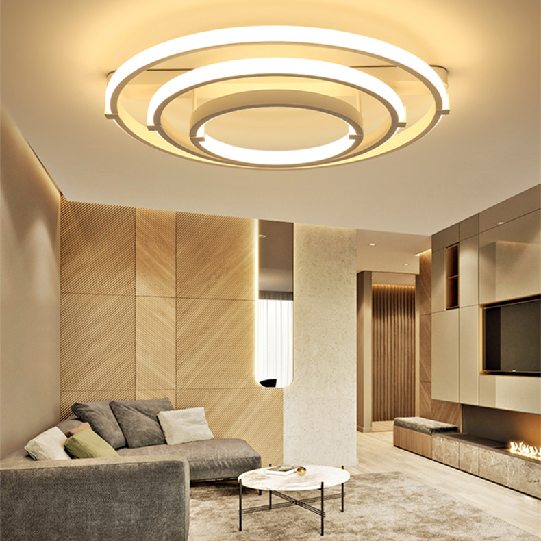 Post-modern living room lamp led ceiling lamp simple modern circular atmospheric personality home bedroom lamps and lanterns noosion modern led ceiling lamp for bedroom room black and white color with crystal plafon techo iluminacion lustre de plafond