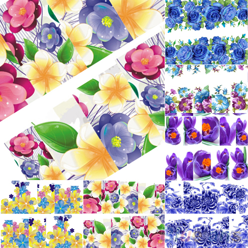 6pcs Beautiful Flowers Nail Art Nail Decals Water Transfer Stickers Decoration Hot