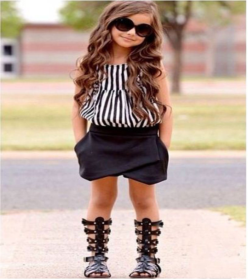 2017 summer kids clothes girl black white Striped sleeveless shirt Tops+Short pants Clothing Set Fashion Children Outfits DY171 2pcs children outfit clothes kids baby girl off shoulder cotton ruffled sleeve tops striped t shirt blue denim jeans sunsuit set