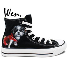 Wen Original Hand Painted Shoes Design Custom Dog Dressed In Red Black High Top Canvas Shoes Man Woman' Sneakers Birthday Gifts