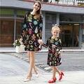 Мода Женщин Девушки Цветочный Длинным Рукавом Платья Милые Печати Качели Клеш Теплая Осень Платье Одежда