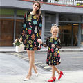 Fashion Womens Girls Floral Long Sleeve Dresses Cute Printing Swing Flared Warm Autumn Dress Clothes