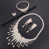 Deluxe Fireworks dubai jewelry sets Necklace Earrings fashion jewelry Set Bracelet Ring wedding jewelry pulseras mujer moda 2018