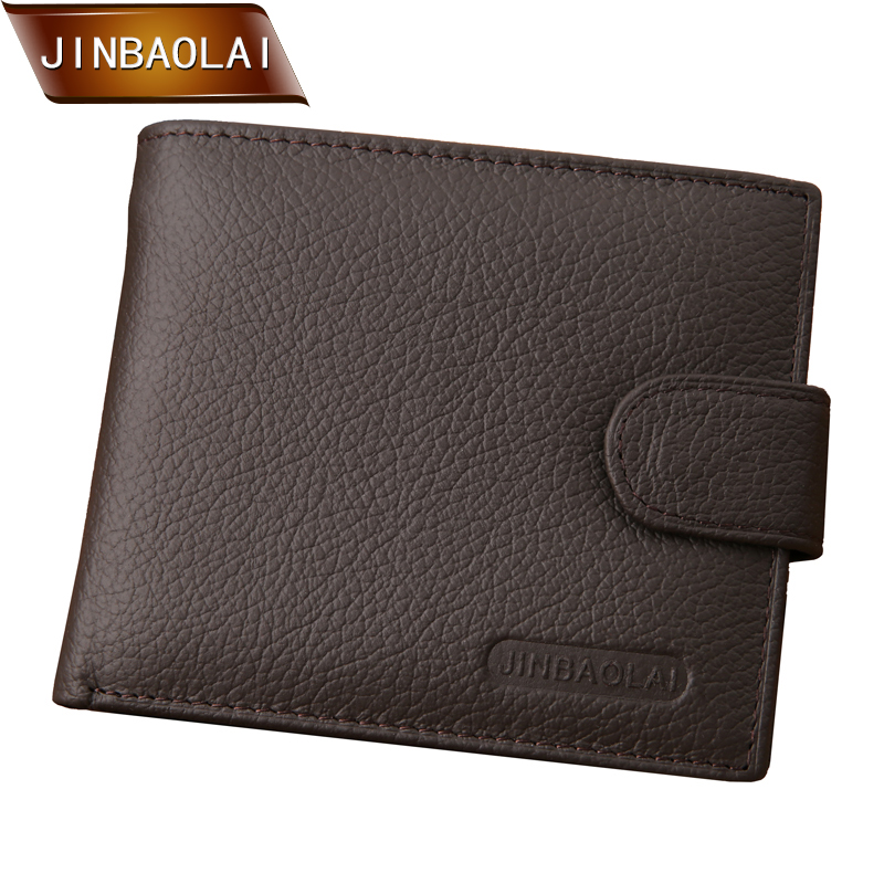JINBAOLAI Wallet Men Genuine Leather Designer With Coin Pocket Male Card Holder Bifold Short Purses carteira