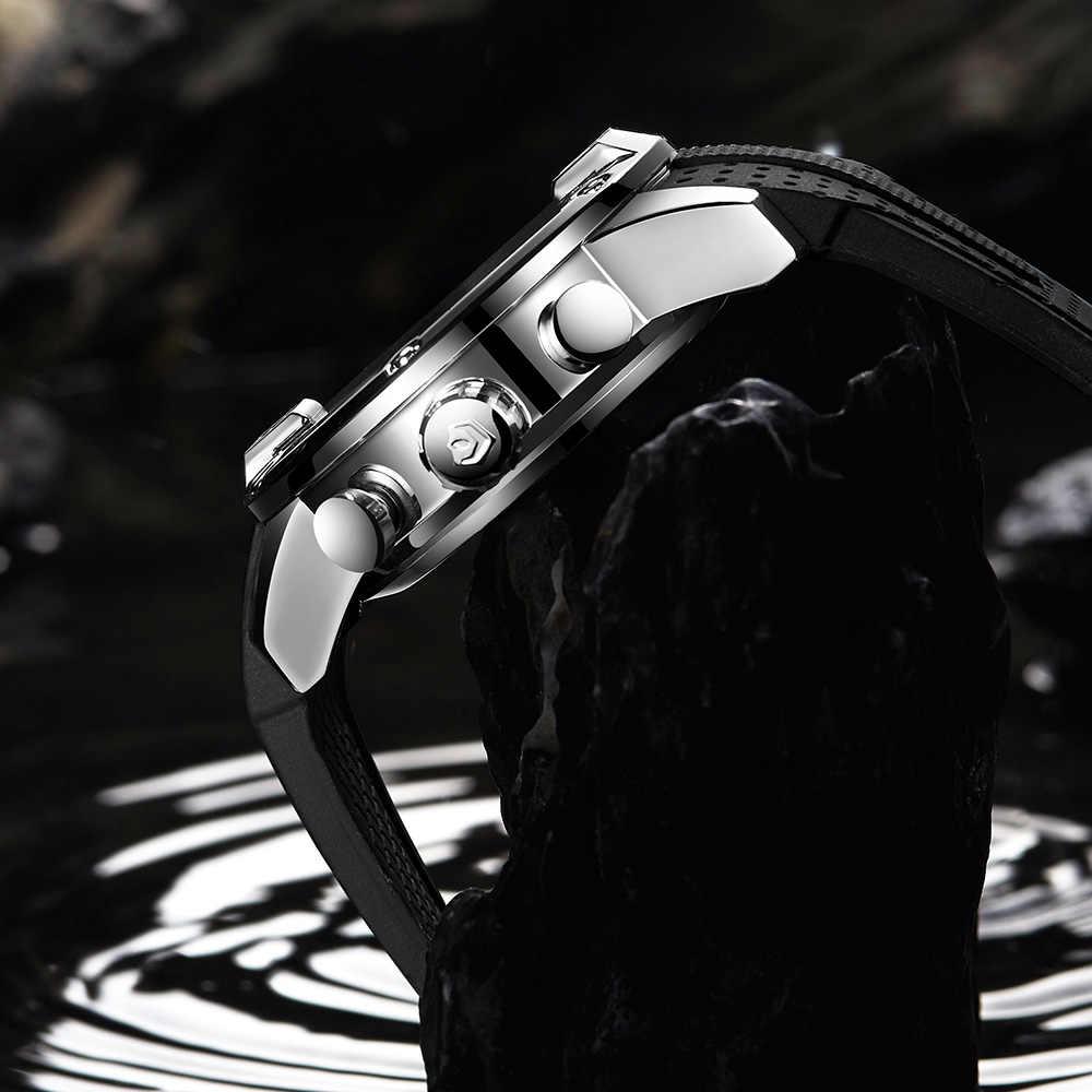 WEIDE Mens ספורט יוקרה מזדמן עסקים אנלוגי הכרונוגרף מעורר אוטומטי תאריך קוורץ סיליקון רצועת להקת צבאי שעון יד