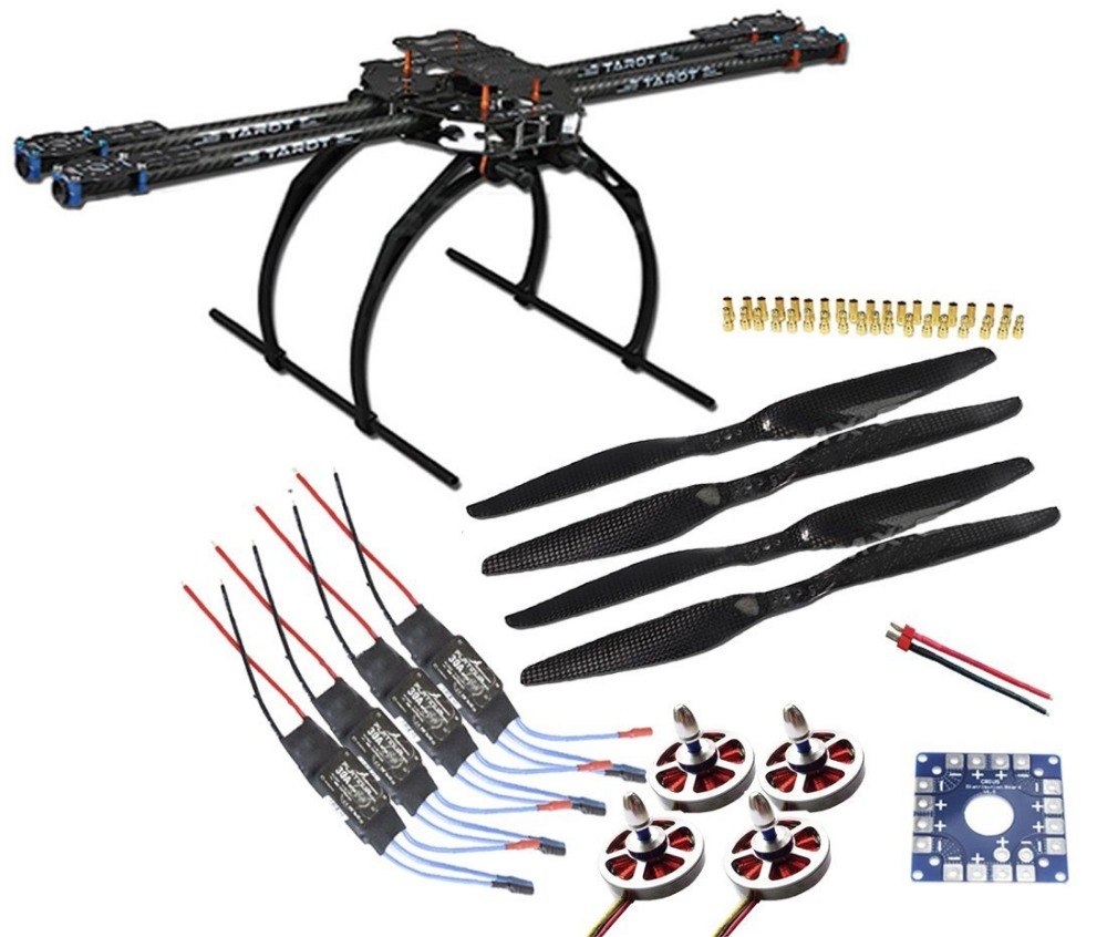 Tarot 650 4-Axis Folding Aircraft RTF Kit: Tarot 3k Aircraft Frame + 750kv Motor + Hobbywing ESC + 1455 Propeller tarot tl68b14 6 axis aircraft hexcopter fy680 fy650 inverted battery rack ship with tracking number
