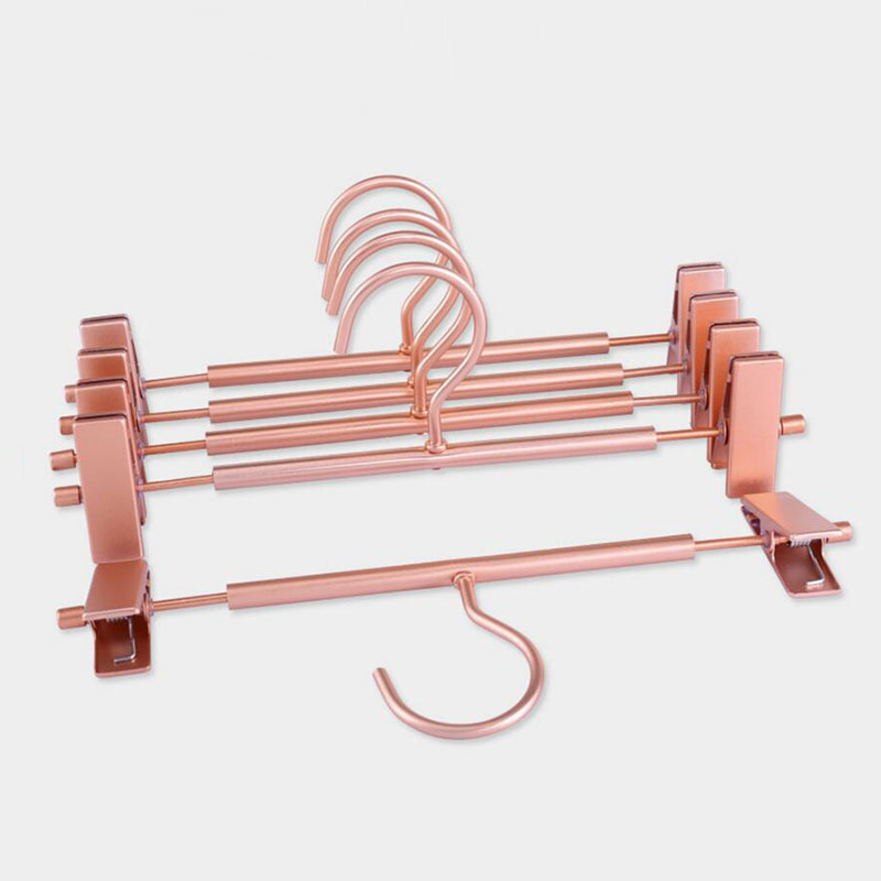 10 Pcs/ Lot High Grade Strong Rose Gold Aluminum Pants Skirt Bottom Hanger with Clips, Heavy Duty Silver Metal Dress Hanger