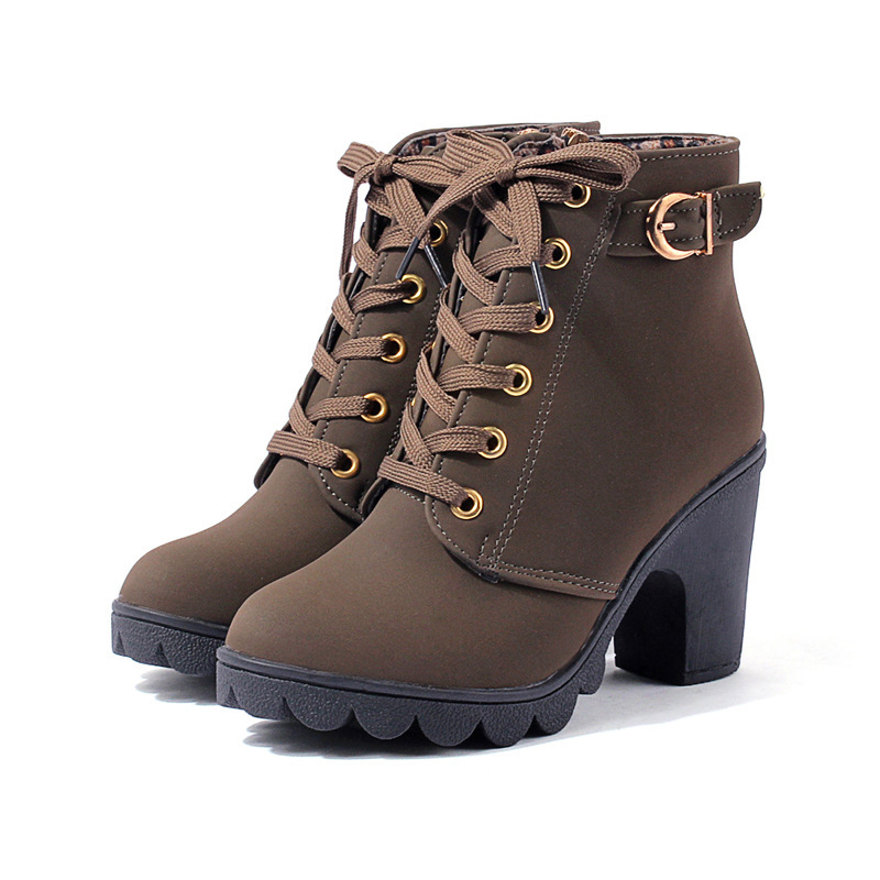Winter autumn new brand square heels women warm classic round toe solid lace-up thickened female leather shoes short ankle boots new autumn winter warm women shoes snow boots square high heels artificial leather top casual female elastic band ankle shoes
